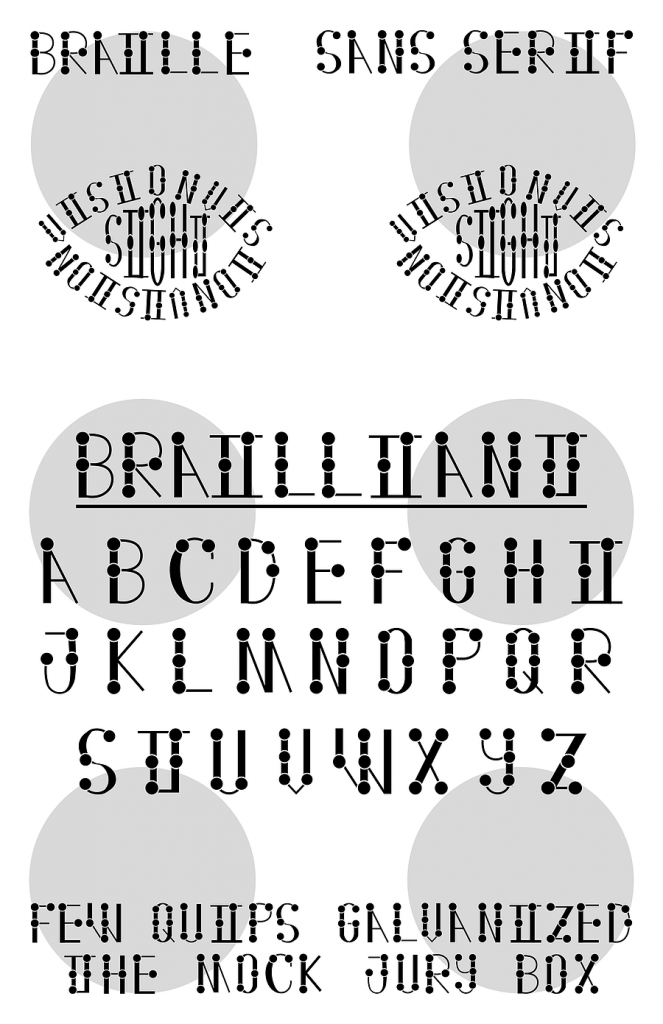 """A poster depicted the font """"Brailliant,"""" which combines the braille alphabet into a sans serif, all caps font. At the top, the words """"Braille"""" and """"Sans Serif"""" are written. Below that are the words """"Vision"""" and """"Sight"""" arranged to form the shape of two eyes. The font's alphabet is located in the center of the image, and the test sentence """"Few Quips Galvanized The Mock Jury Box"""" is written at the bottom. There are six light grey dots arranged to form the Braille dot grid in the background."""