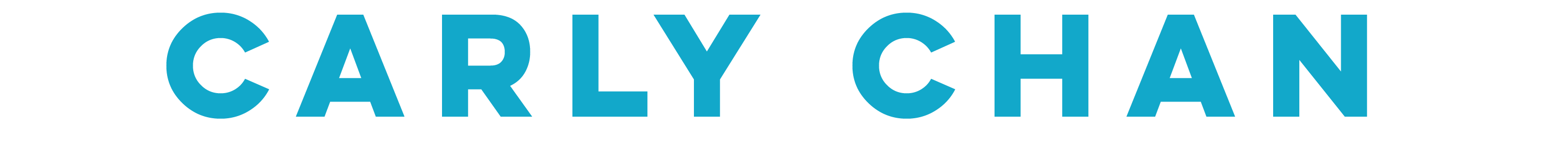 "Wordmark: The name ""Carly Chan"" written in blue, all-caps sans serif text."