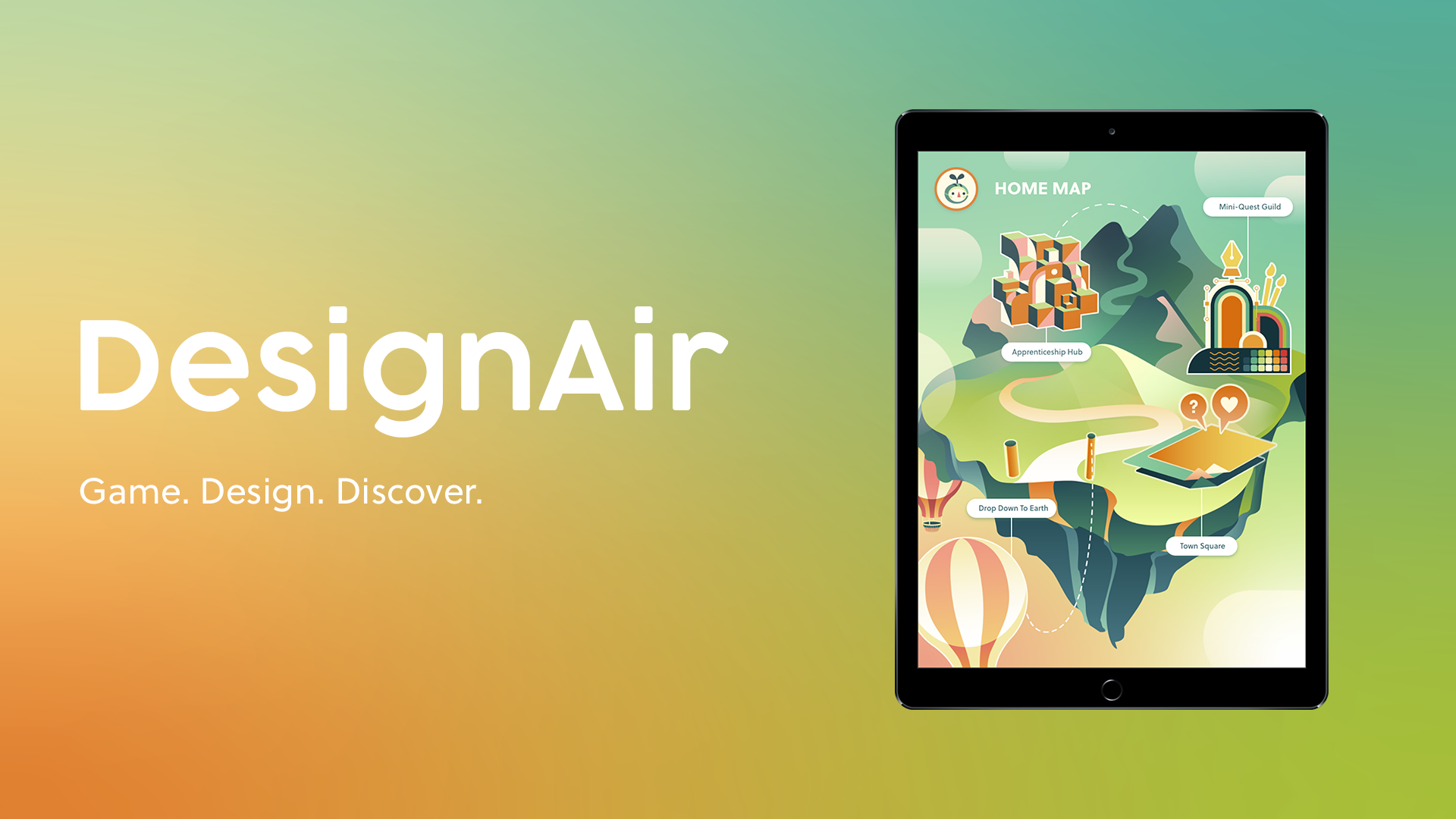 """DesignAir Banner — An iPad with a colorful floating island illustration rests atop a colorful gradient background. On the left side of the image, the word """"DesignAir"""" is written in large white text, and the words """"Game. Design. Discover."""" are written in smaller text beneath."""