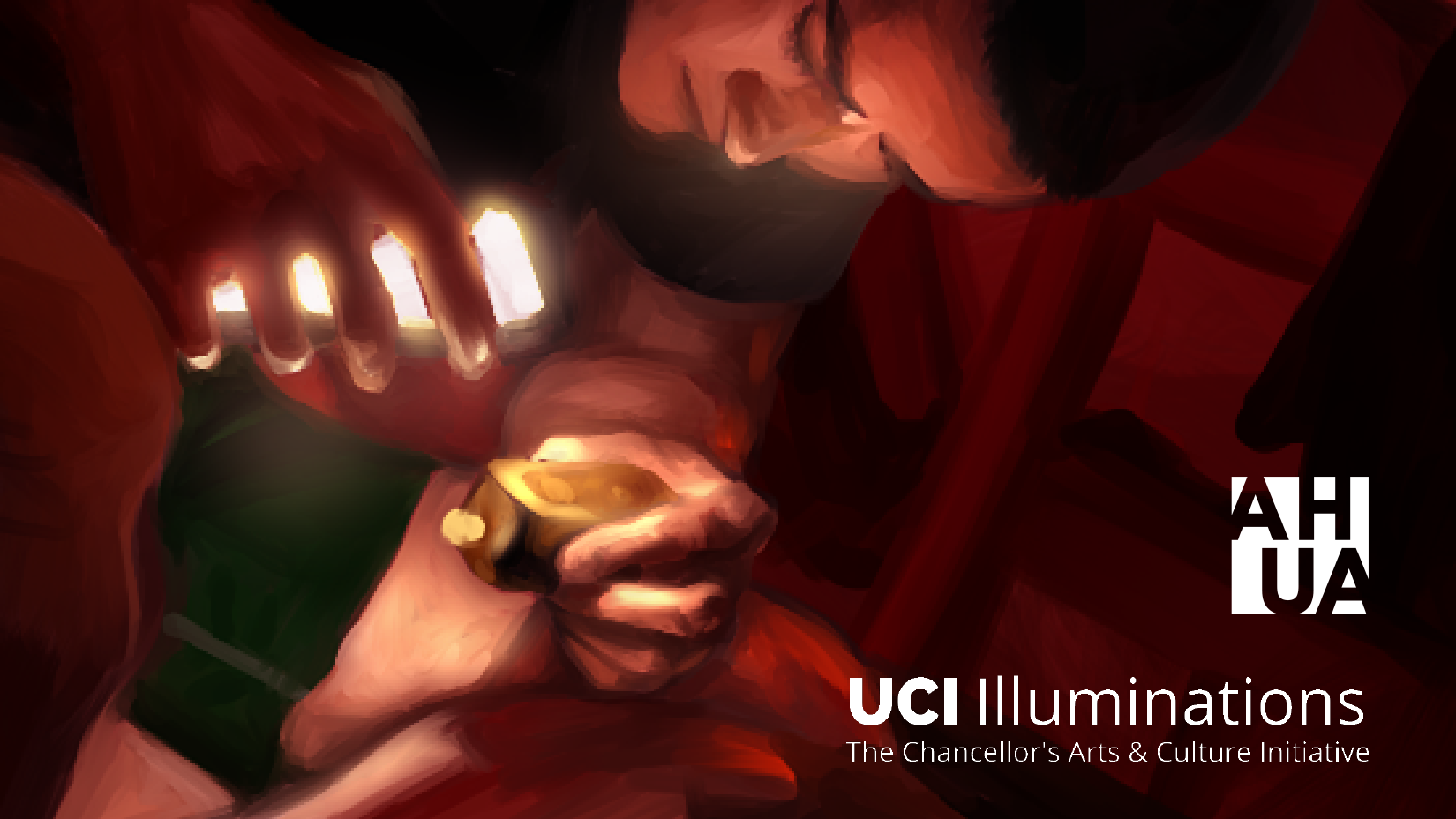 Querencia — Part of the cover for the Querencia Exhibition Booklet is depicted. It includes a red-themed illustration of a male young adult holding up something to a light while sitting down. In the bottom right corner, there are two logos for AHUA (UCI Art History Undergraduate Association) and UCI Illuminations: The Chancellor's Arts & Culture Initiative.