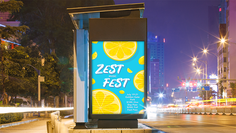 Zest Fest Mockup — A mockup of a bus stop poster depicts a blue and yellow poster for the Zest Fest Music Festival. The poster includes lemon motifs, and the bus stop is placed in front of a busy city background.
